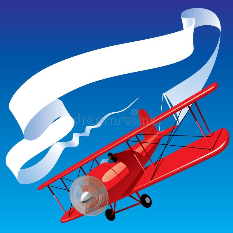 Avião com uma bandeira ilustração royalty free