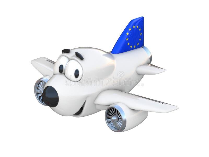 Avião com uma cara de sorriso - bandeira dos desenhos animados da União Europeia ilustração stock