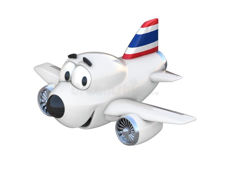 Avião com uma cara de sorriso - bandeira tailandesa dos desenhos animados ilustração do vetor