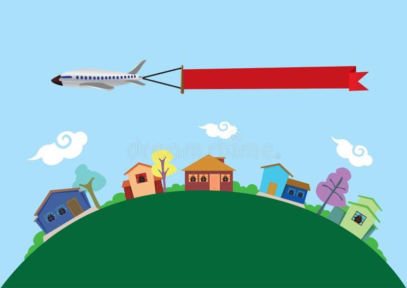 Avião com voo da bandeira acima da ilustração do vetor das casas ilustração royalty free