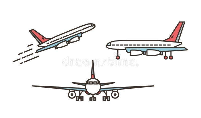 Avião, avião comercial, avião de passageiros ou jumbo moderno - jato que descola ou que ascensão e que está na terra isolada no b ilustração do vetor