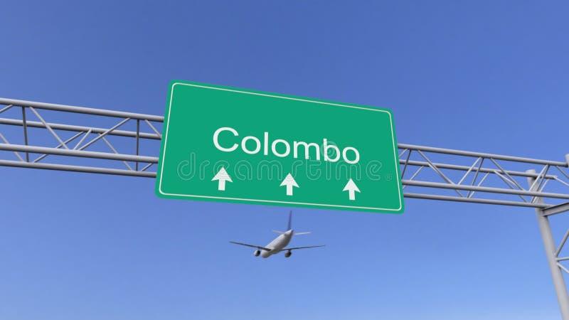 Avião comercial do motor gêmeo que chega ao aeroporto de Colombo Viagem à rendição 3D conceptual de Sri Lanka ilustração do vetor