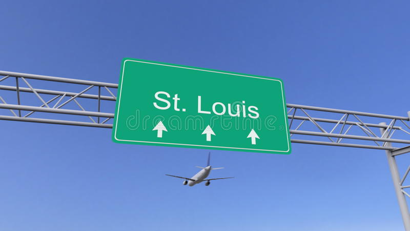 Avião comercial do motor gêmeo que chega ao aeroporto de St Louis Viagem à rendição 3D conceptual do Estados Unidos ilustração do vetor