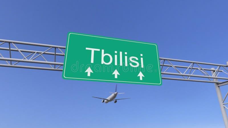 Avião comercial do motor gêmeo que chega ao aeroporto de Tbilisi Viagem à rendição 3D conceptual de Geórgia ilustração do vetor