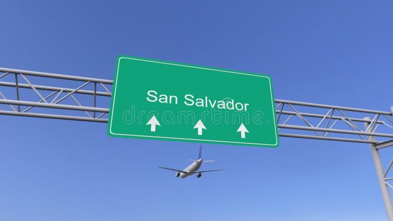 Avião comercial do motor gêmeo que chega ao aeroporto do San Salvador Viagem à rendição 3D conceptual de El Salvador ilustração stock