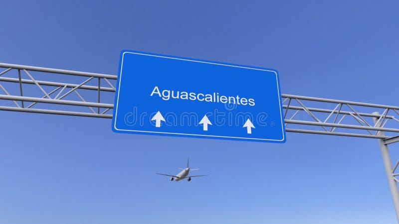 Avião comercial que chega ao aeroporto de Aguascalientes Viagem à rendição 3D conceptual de México imagens de stock