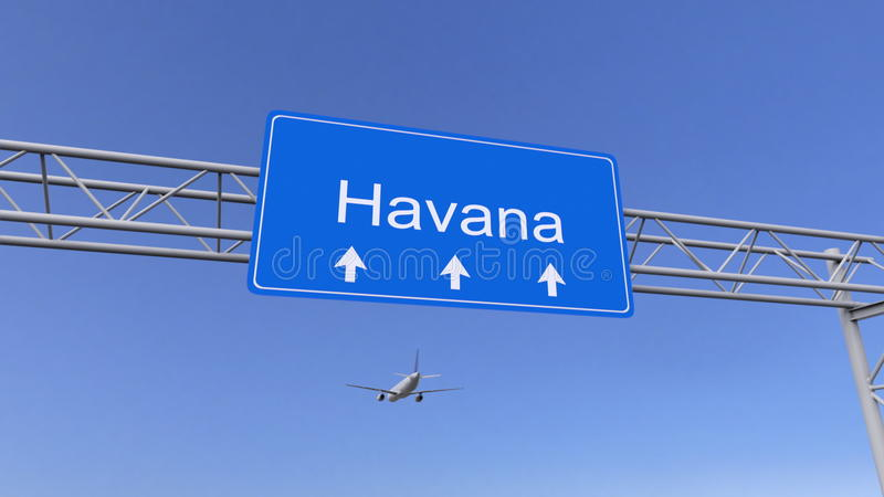 Avião comercial que chega ao aeroporto de Havana Viagem à rendição 3D conceptual de Cuba fotos de stock royalty free