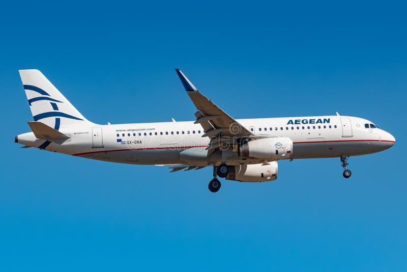 Avião da Aegean Airlines A320 em Frankfurt fotos de stock royalty free