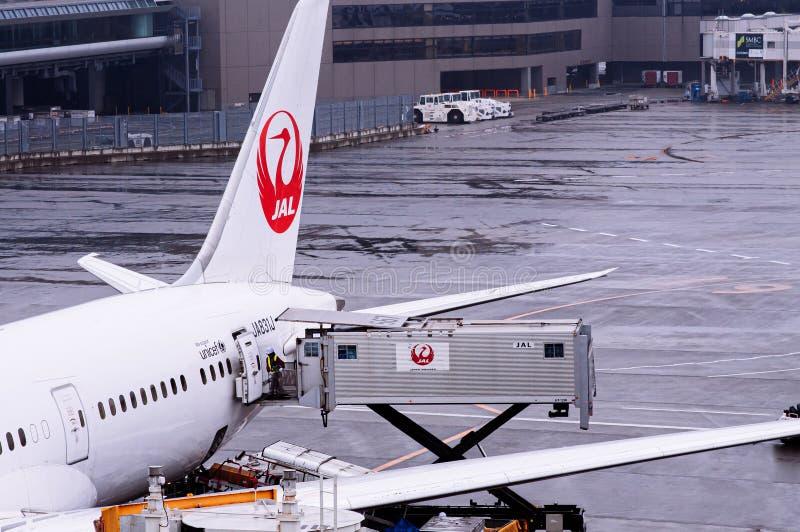 Avião da JAL Airline durante o carregamento das refeições em condições de chuva e mau tempo no aeroporto internacional de Tóquio  fotos de stock