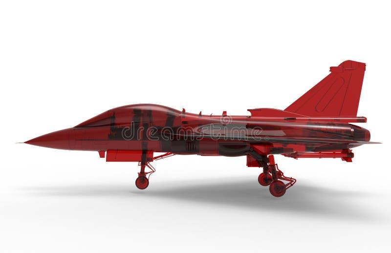 Avião de combate de vidro vermelho ilustração stock