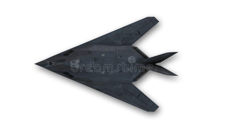 Avião de combate do discrição, avião militar, vista superior ilustração do vetor