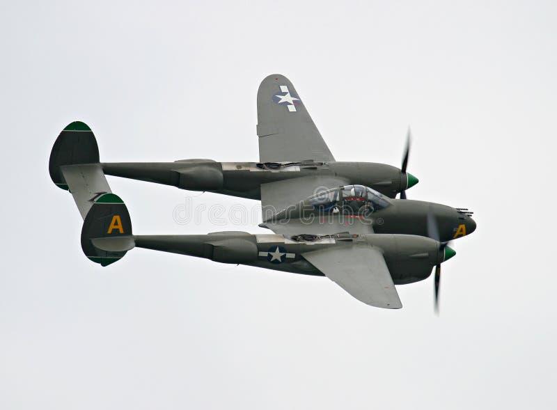 Avião de combate do relâmpago P-38 fotografia de stock royalty free
