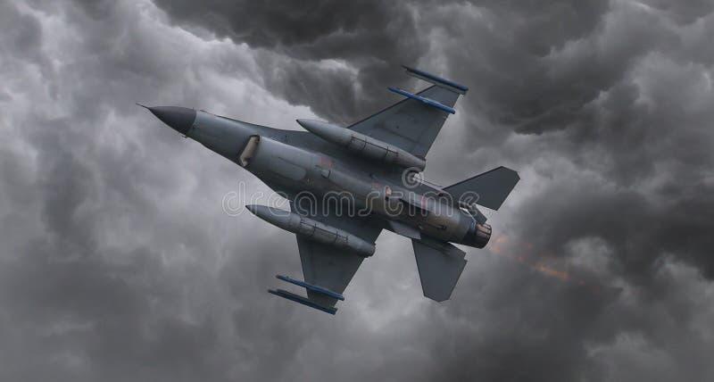 Avião de combate que voa rapidamente fotos de stock