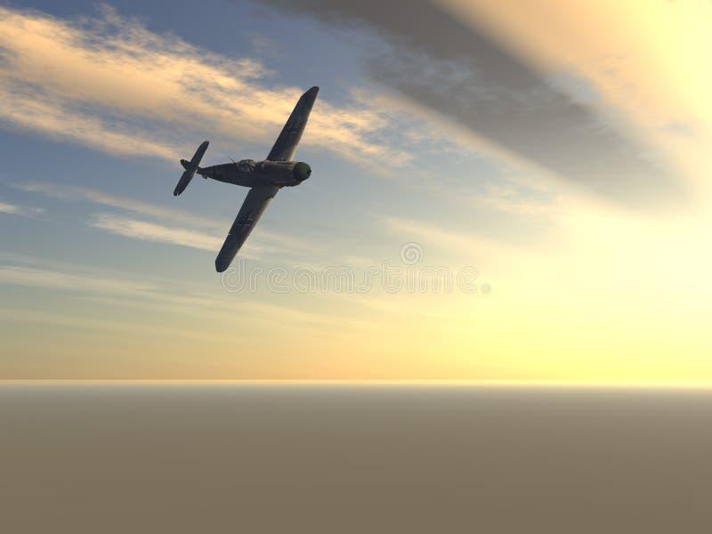 Avião de combate sobre o nascer do sol ilustração do vetor