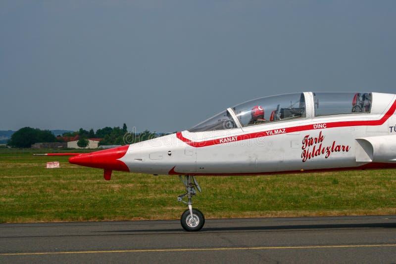 Avião de combate turco do tigre do demoteam F-5 das estrelas fotos de stock