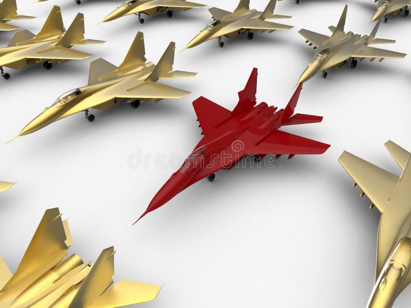 Avião de combate vermelho no grupo ilustração stock