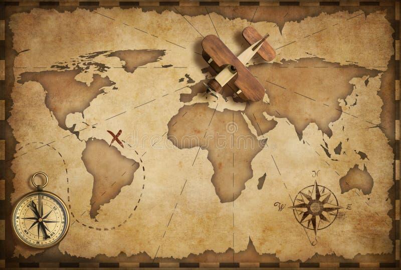 Avião de madeira pequeno sobre o mapa náutico do mundo como o conceito do curso e da comunicação ilustração royalty free