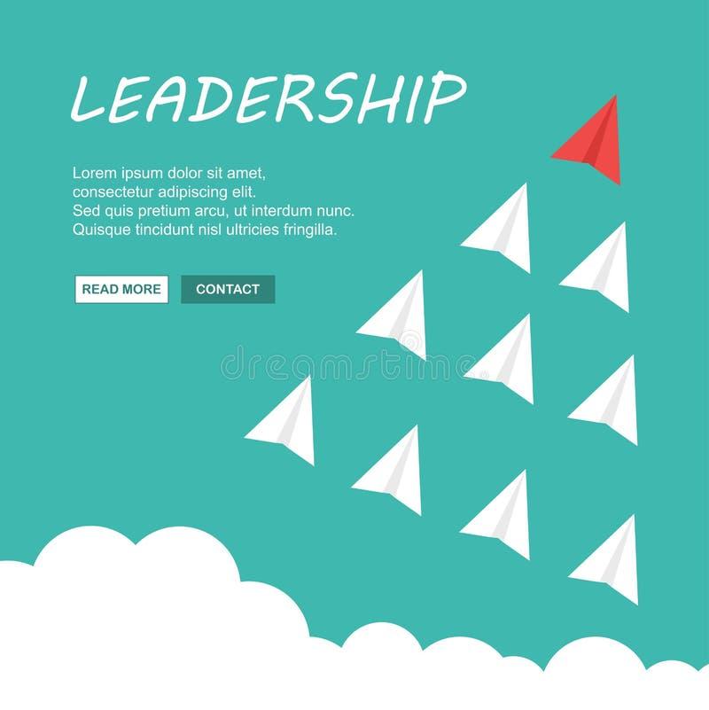 Avião de papel vermelho como um líder entre outros Ilustra??o do vetor ilustração do vetor