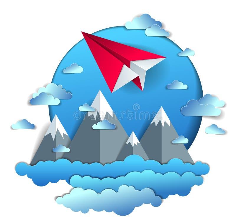 Avião de papel voando no céu nublado sobre a paisagem cênica da cordilheira, avião de brinquedo dobrado em origami em linda natur ilustração do vetor