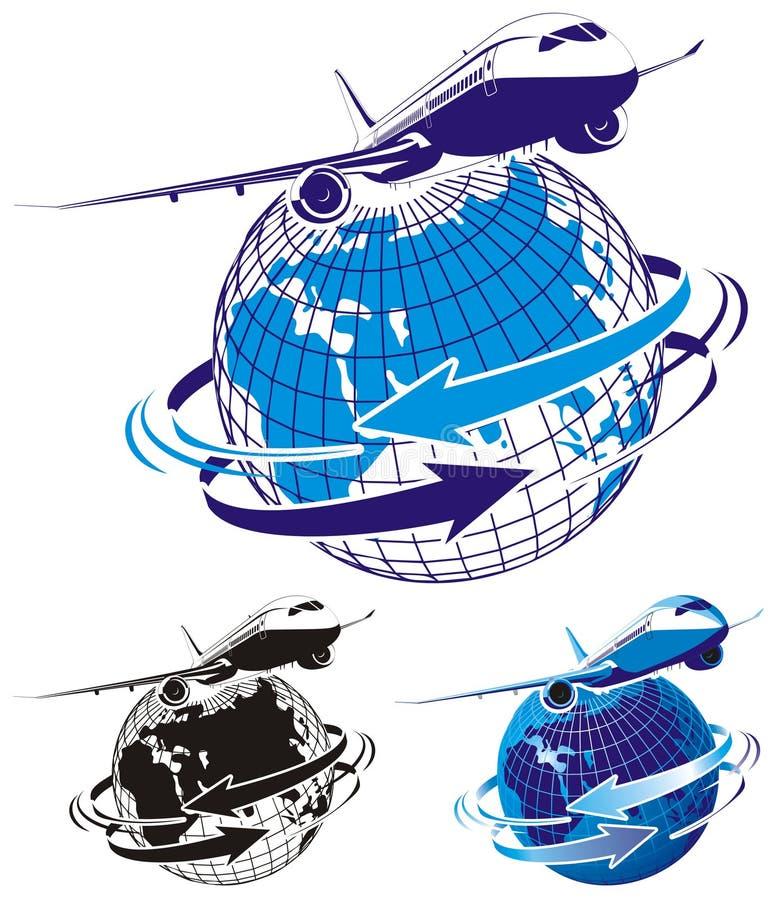 Avião de passageiros do passageiro do vetor como um logotipo ilustração royalty free