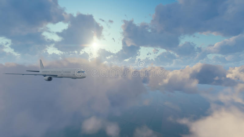 Download Avião De Passageiros Do Passageiro No Céu Ensolarado Com Nuvens Ilustração Stock - Ilustração de overcast, passageiro: 80100936