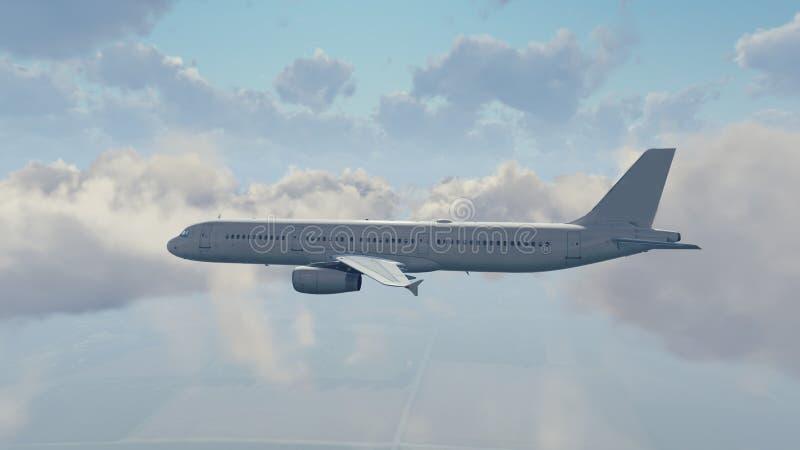 Download Avião De Passageiros Do Passageiro No Céu Nebuloso Ilustração Stock - Ilustração de aviação, airspace: 80100512