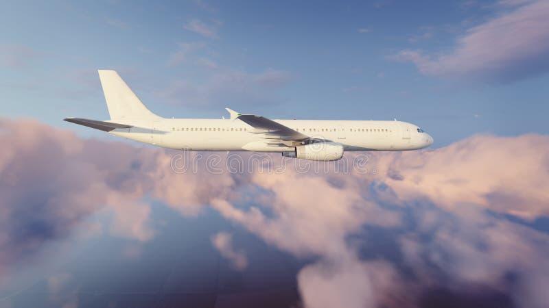 Download Avião De Passageiros Do Passageiro No Céu Nebuloso Da Noite Ilustração Stock - Ilustração de plano, vôo: 80100746