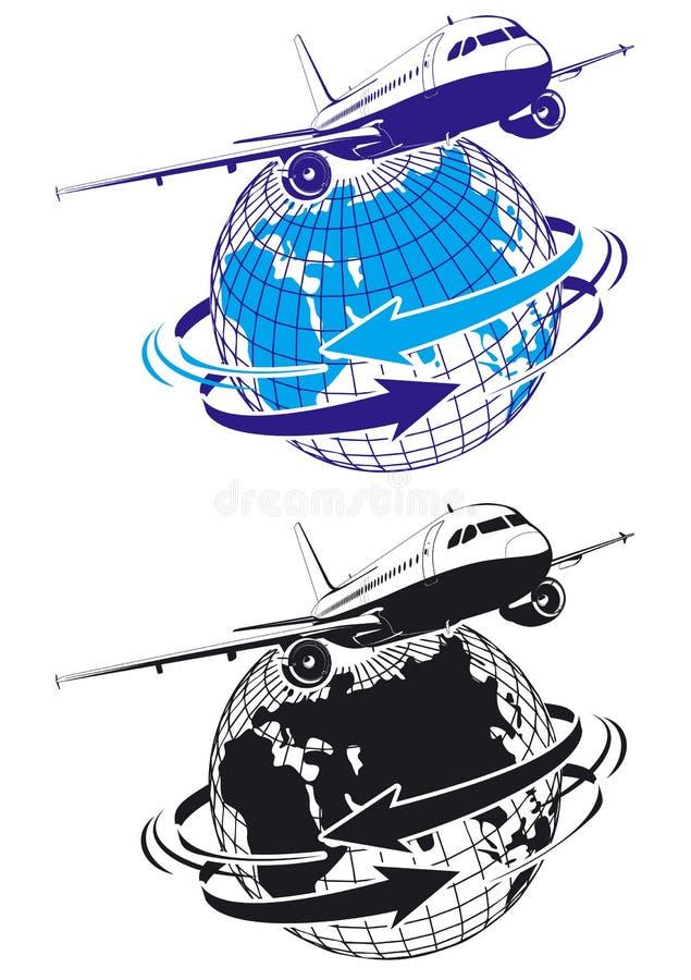 Avião de passageiros do vetor como um logotipo ilustração royalty free