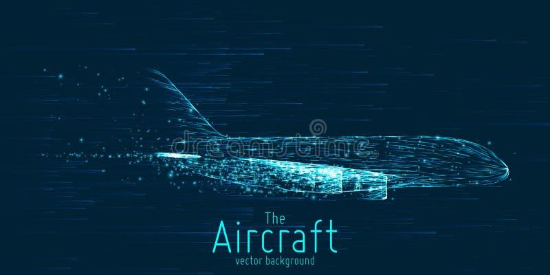 Avião de passageiros do vetor construído com linhas de incandescência Linha fina conceito do wireframe Voo dos aviões no céu com  ilustração stock