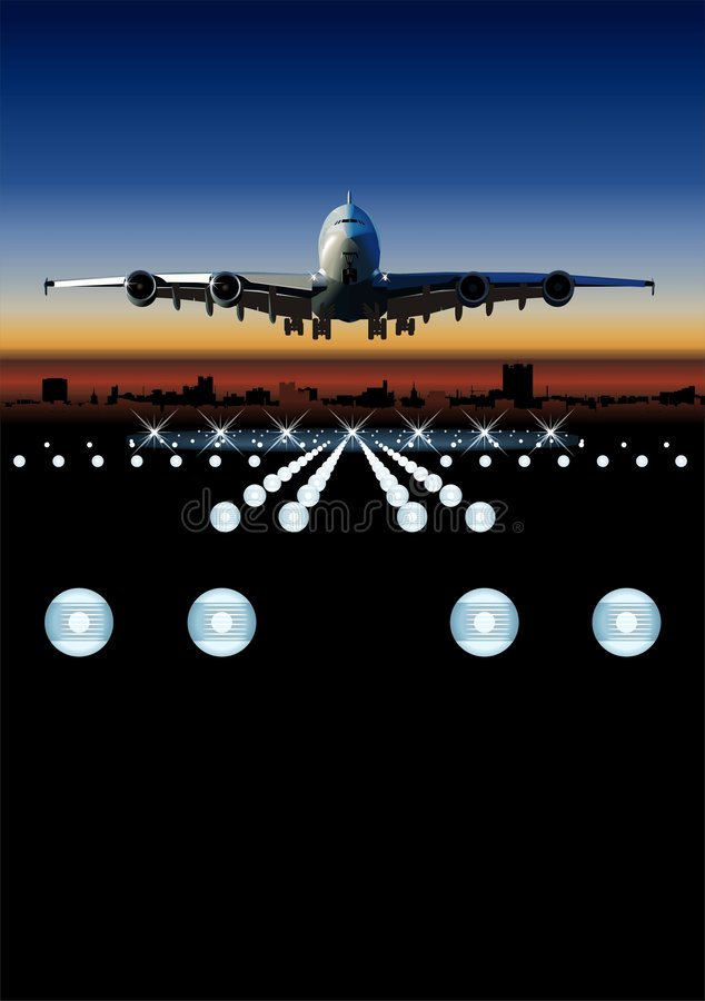Avião de passageiros do vetor no nascer do sol ilustração stock