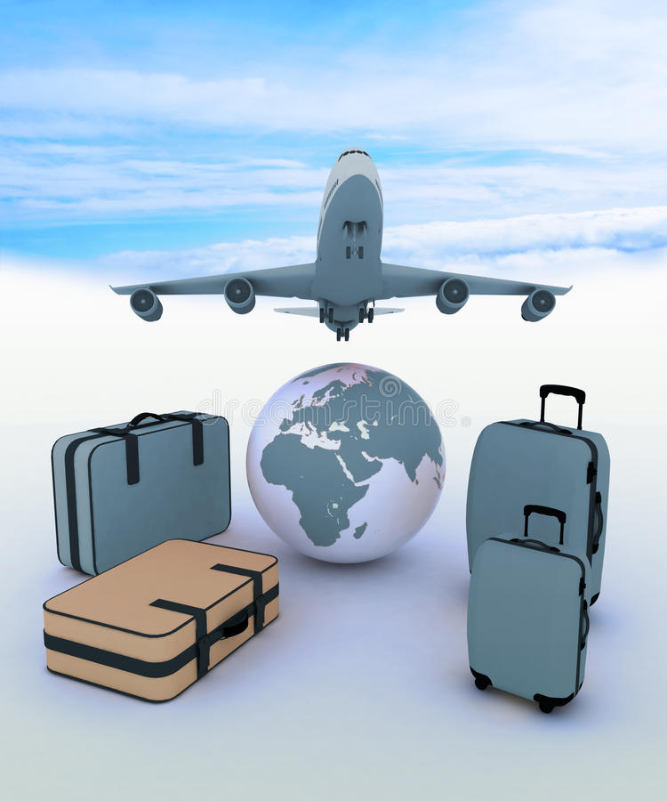 Avião de passageiros e malas de viagem ilustração royalty free