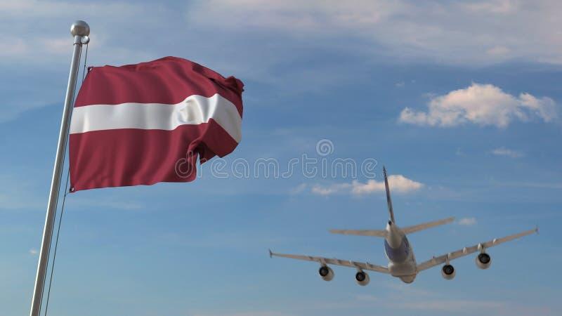 Avião de passageiros que passa acima da bandeira nacional de Letónia O transporte aéreo letão relacionou a rendição 3D ilustração royalty free