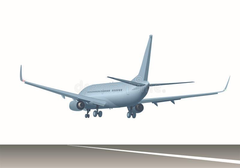 Avião de passageiros sobre a pista de decolagem ilustração royalty free