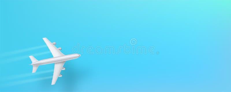 Avião de prata, vista superior Plano de voo em um fundo azul O conceito de anunciar a bandeira para agências de viagens ilustração do vetor