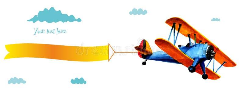 Avião do Bleu com propaganda Biplano azul com a fita branca no céu azul ilustração do vetor