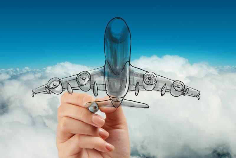 Avião do desenho da mão no céu azul fotografia de stock royalty free