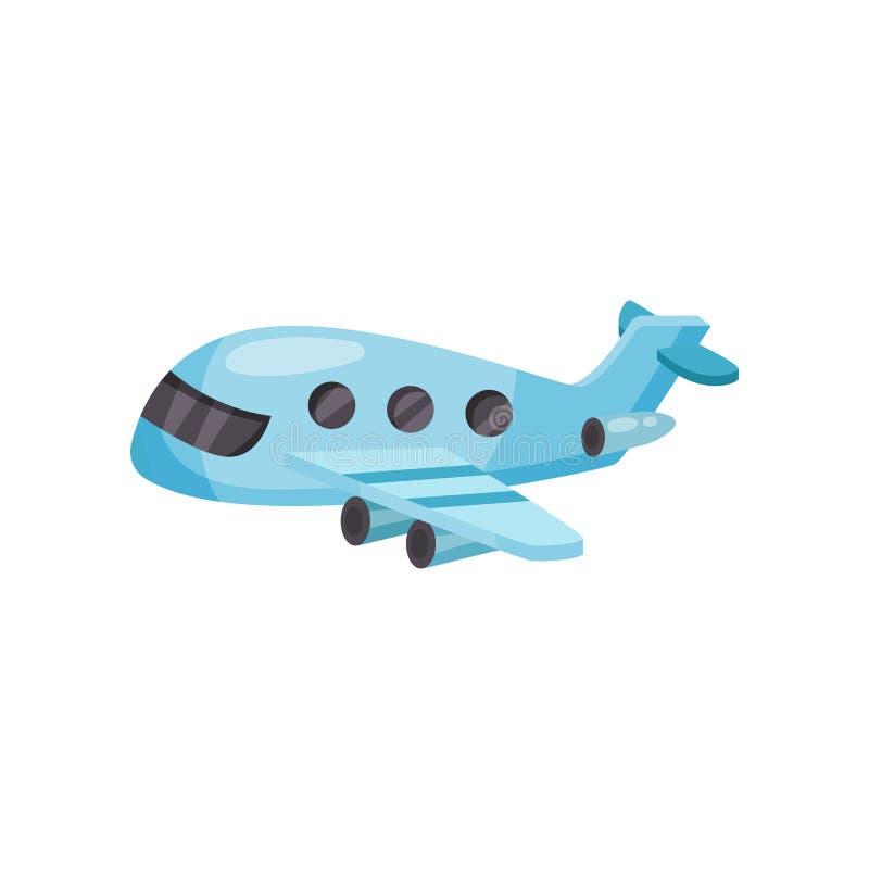 Avião do passageiro dos desenhos animados Plano azul pequeno com motores de jato Vetor liso para o cartaz móvel do jogo ou da pro ilustração do vetor