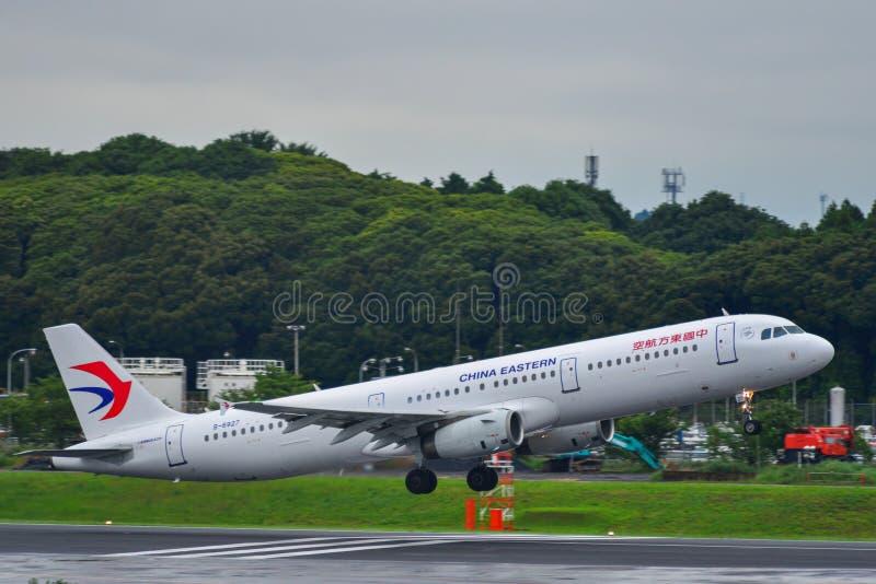 Avião do passageiro no aeroporto de Narita do Tóquio fotografia de stock royalty free