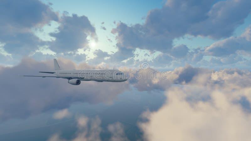 Download Avião Do Passageiro No Céu Ensolarado Com Nuvens Ilustração Stock - Ilustração de ilustração, vôo: 80100181