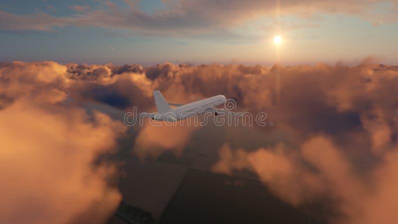 Download Avião Do Passageiro No Céu Nebuloso Do Por Do Sol Ilustração Stock - Ilustração de elevado, vôo: 80100755