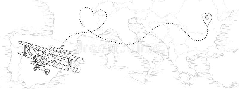 Avião do vintage com a rota pontilhada na forma do coração ilustração royalty free