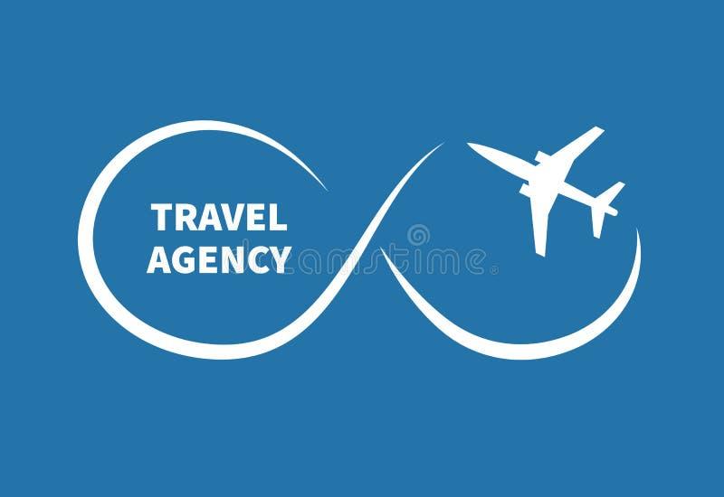 Avião do voo e sinal da infinidade ilustração stock