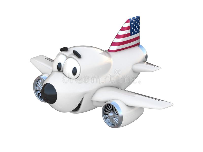 Avião dos desenhos animados com uma bandeira americana de sorriso da cara ilustração stock