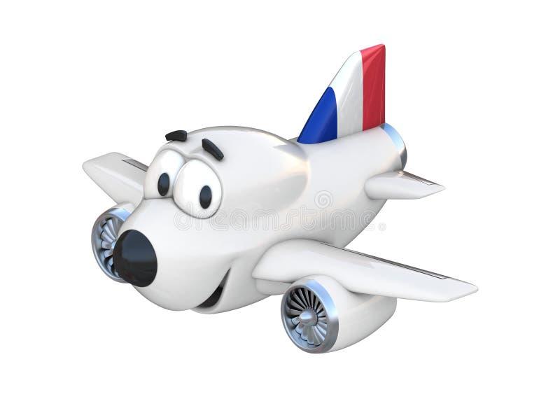 Avião dos desenhos animados com uma bandeira de sorriso do francês da cara ilustração stock