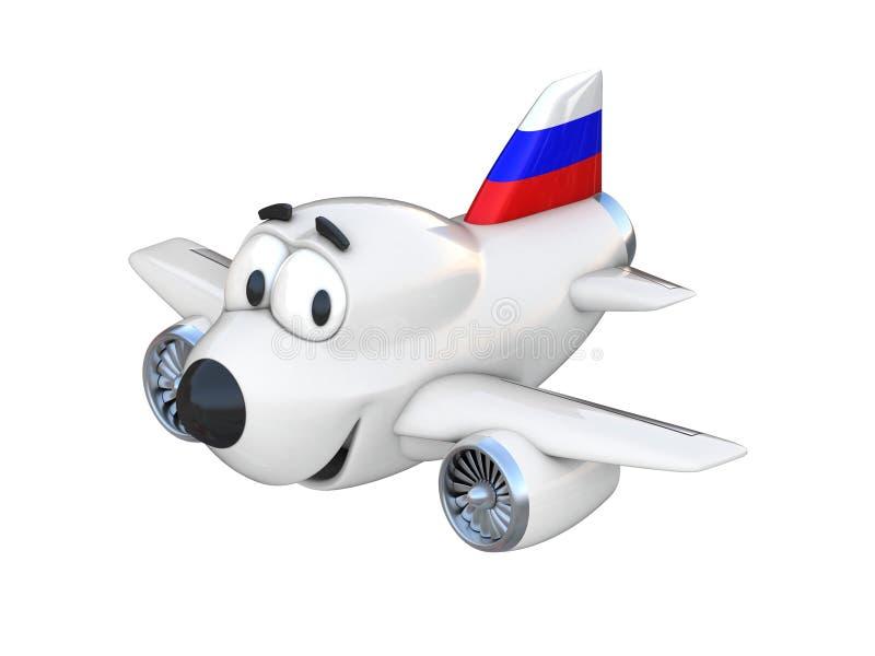 Avião dos desenhos animados com uma bandeira de sorriso do russo da cara ilustração royalty free