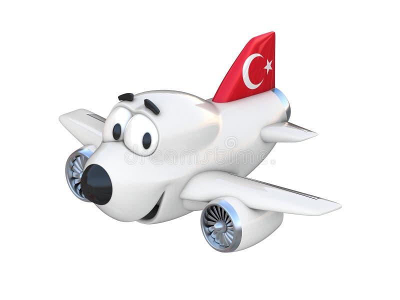 Avião dos desenhos animados com uma bandeira de sorriso do turco da cara ilustração stock