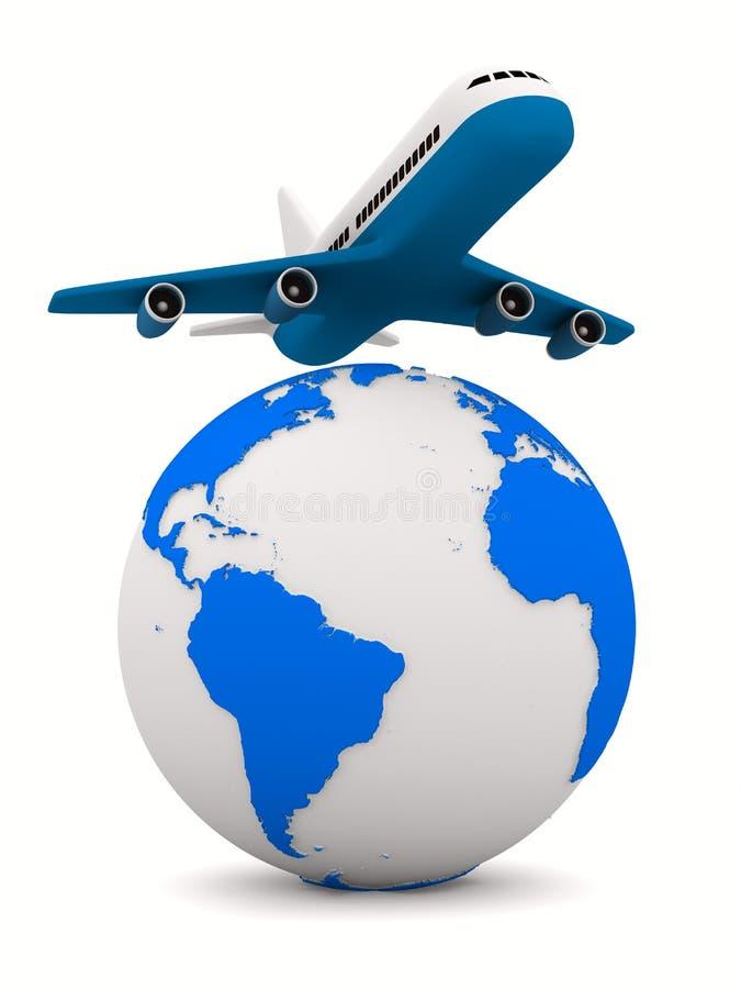 Avião e globo no fundo branco ilustração do vetor