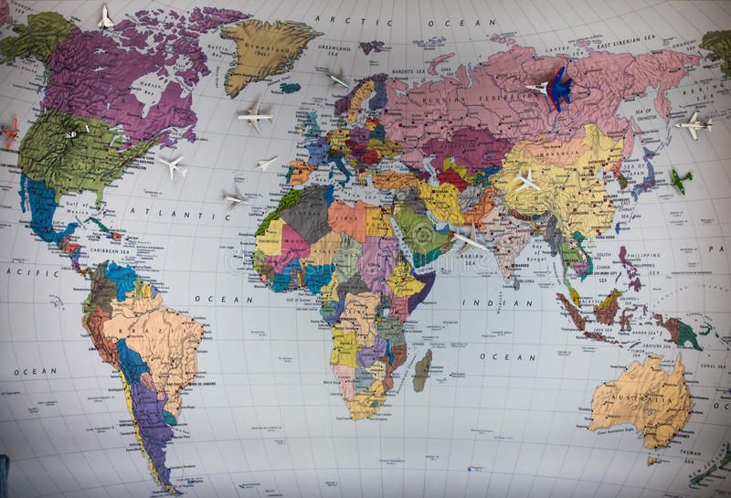 Avião e mapa fotografia de stock