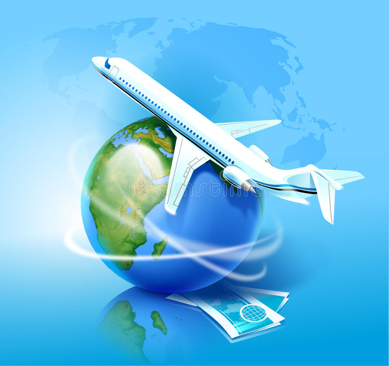 Avião e o globo ilustração do vetor