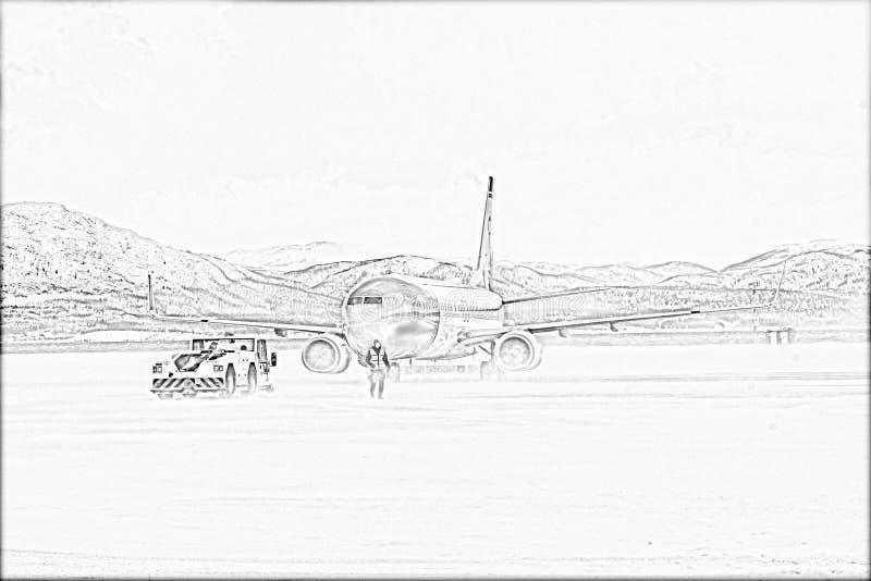 Avião em Alta Airport Pencil Drawing ilustração stock